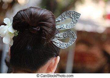 Thai style silver hair pin