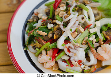 Thai style spicy mixed seafood salad
