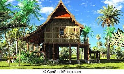 Thai style wooden hut 3d rendering