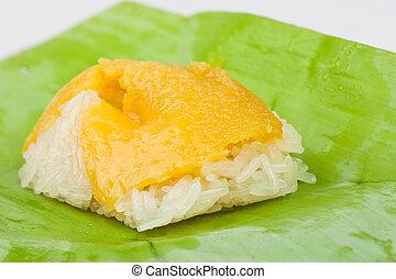 Thai sweet dessert ,Sticky Rice Custard