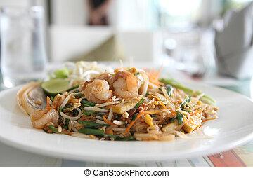 thai táplálék, padthai, sült, tökfej, noha, garnélarák