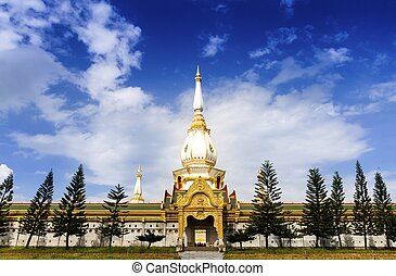Thai tample Wat Phra Mahathat Chedi Chaimongkol, Roi-Et, ...