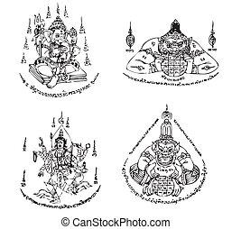 Thai Tattoo Ancient Vector - Set of Thai Tattoo Ancient. ...