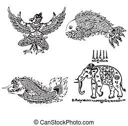 Thai Tattoo Ancient Vector