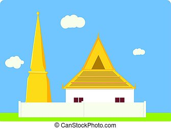 Thai temple and pagoda flat simple design with sky background