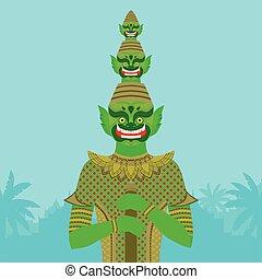 Thai Temple Guardian Giant , Thailand Yaksha demon statue, Buddhism symbol in Bangkok, Asian spirit