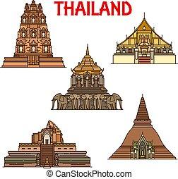 Thai temples and stupas icons. Travel landmark