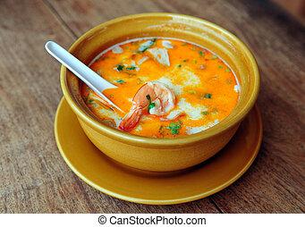 Thai Tom Yum Soup - Bowl of spicy Thai Tom Yum Soup