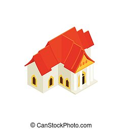 Thai traditional house icon, isometric 3d style