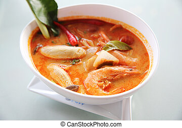 Thai traditional spicy prawn soup , Tom yum kung