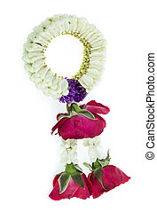 Thai Traditional Style of garland made from Roses and jasmine isolated on white background