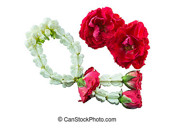 Thai Traditional Style of garland made from Roses and jasmine