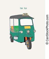 uk Tuk in Bangkok of Thailand. Vector Illustration