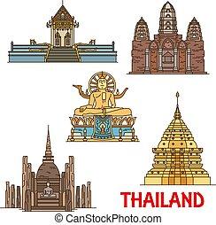 Thai travel landmarks. Ancient temples, pagodas - Thailand...
