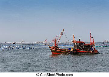 Thai trawler fishing boat in the sea.