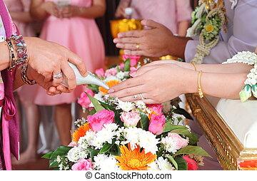 thai, trouwfeest, ceremony.