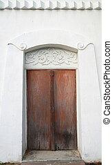 Thai vintage temple wood door