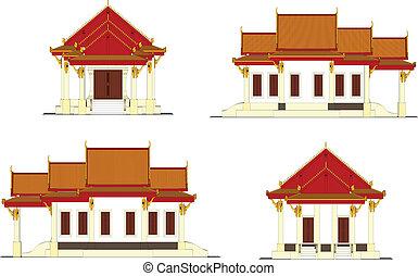 thai., wat, templo, tailandia