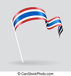 Thai wavy flag. Vector illustration.