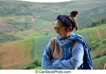 Thai woman 34 year old travel and portrait