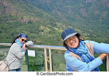 Thai woman and old women travel and portrait with view of Khao Kho mountain