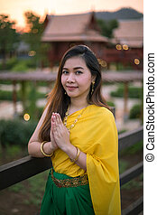 Thai woman dressing with traditional style - Thai woman...