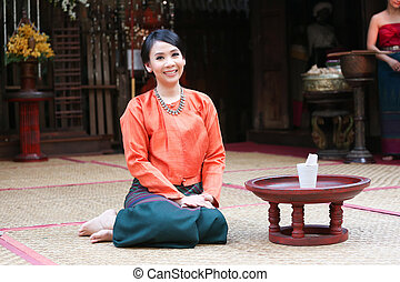 Thai woman in a traditional northtern thai costume