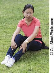 thai woman in lawn