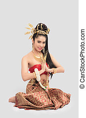 Thai Woman In Traditional Costume Of Thailand - Thai Woman...