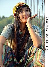 Thai Woman portrait on the bridge at location Kaeng Krachan...