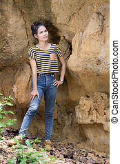 Thai Woman portrait standing near Cliff