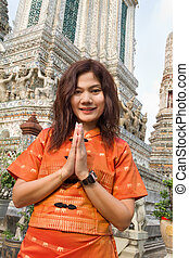 thai woman praying - thai woman in traditional clothes...