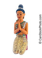 "Thai woman sculpture paying respect, thai call ""sawasdee""..."