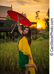 Thai woman with traditional style - Thai woman dressing with...