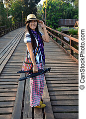 Thai Women with tripod portrait