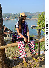 Thai Women with tripod portrait