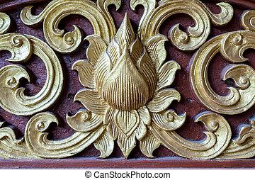 Thai wood carved pattern