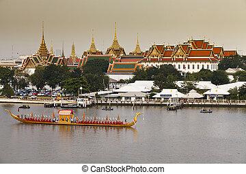 thaiföld, királyi, felvonulás, bárka