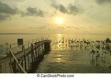 thaiföld, rayong, napkelte