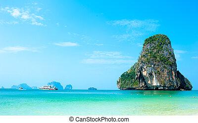 thaiföld, tenger, természet parkosít, háttér