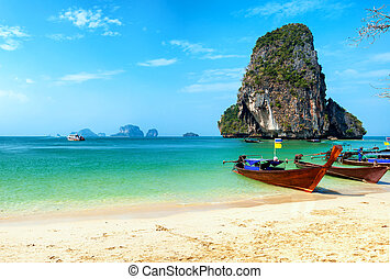 thaiföld, tengerpart, és, tropical sziget