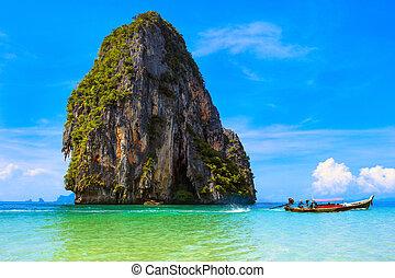 thaiföld, tropikus, természet, gyönyörű, parkosít., tenger, költség, touristic, háttér.