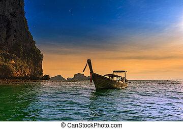 thaiföld, tropikus, természet, gyönyörű, parkosít., tenger, költség, touristic, háttér