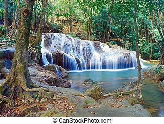 thaiföld, vízesés, dzsungel