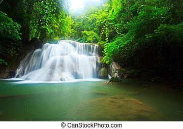 thaiföld, vízesés, erdő, kanchanaburi