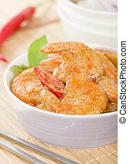 thailändisch, curry, garnele