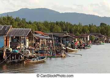 thailändisch, fischerdorf