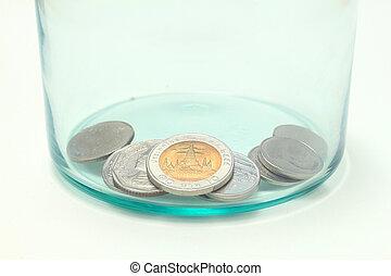 thailändisch, geldmünzen, in, der, glas flasche