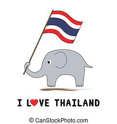 thailändisch, halten, flag1, elefant