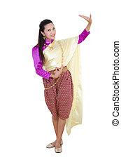 thailändisch, m�dchen, in, national kost�m, tanzen